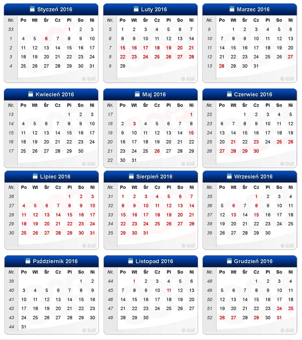 Kalendarz zajęć sportowych na basenie MOSiR Gdańsk Chełm i Politechniki Gdańskiej na 2016 rok