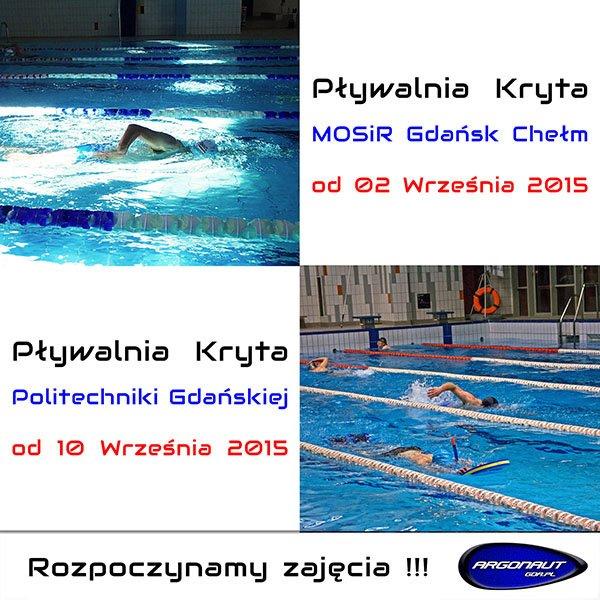 Rozpoczynamy zajęcia na pływalni Politechniki Gdańskiej i MOSiR Gdańsk Chełm
