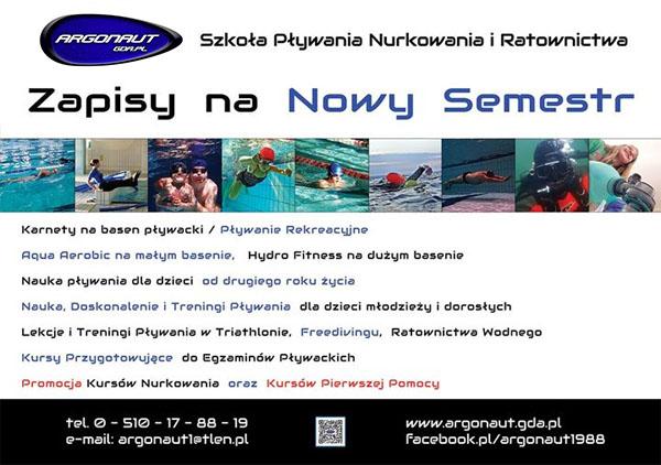 Zapisy zajęcia fitness, do szkoły pływania, nurkowania i ratownictwa Argonaut