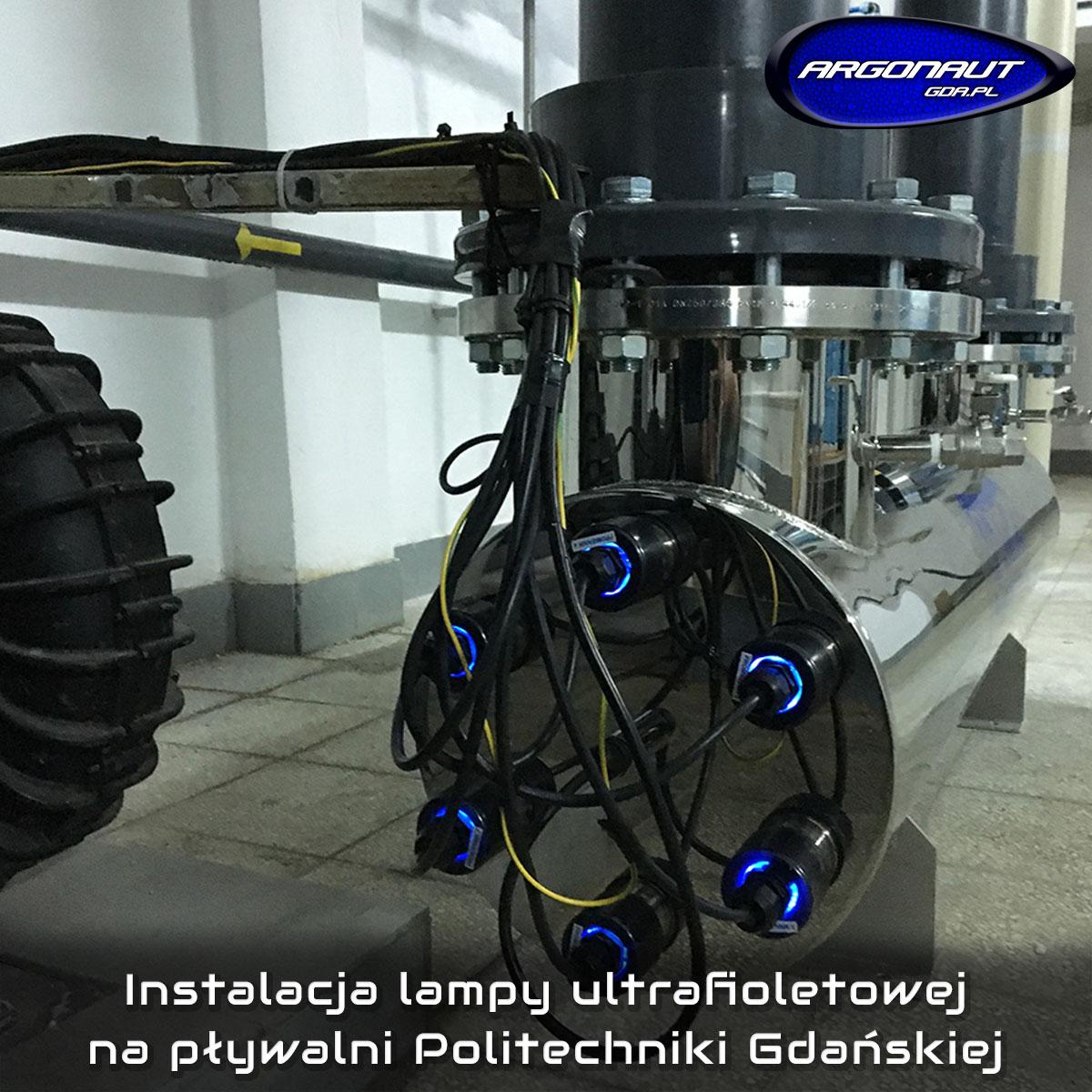 Instalacja lampy ultrafioletowej na pływalni Politechniki Gdańskiej